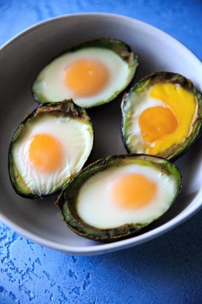 Baked Egg in Avocado after baking