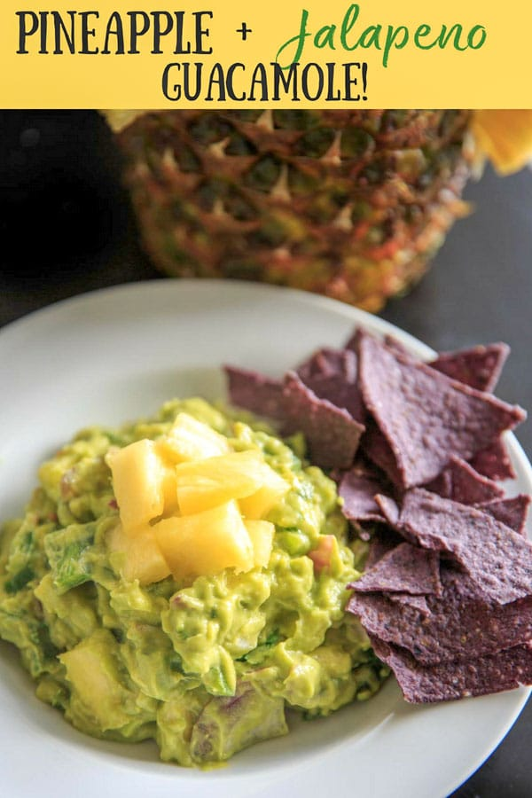 Pineapple Jalapeño Guacamole is a tropical spin on this favorite appetizer dip. Great for summer gatherings, cookouts and gatherings! Serve this vegan and gluten-free snack with corn chips, crackers or veggies.