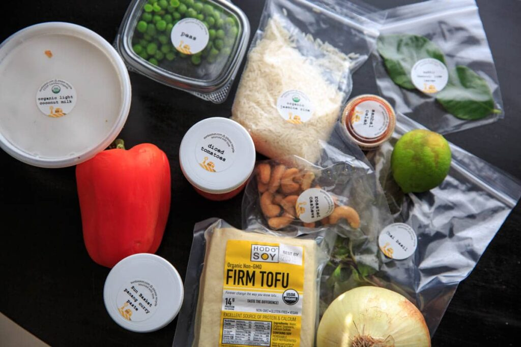 Ingredients for Thai tofu panang curry with jasmine rice