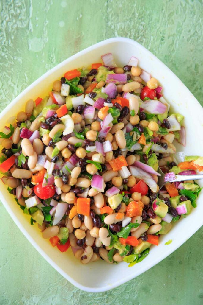 Three Bean Salad mixed together in a large bowl