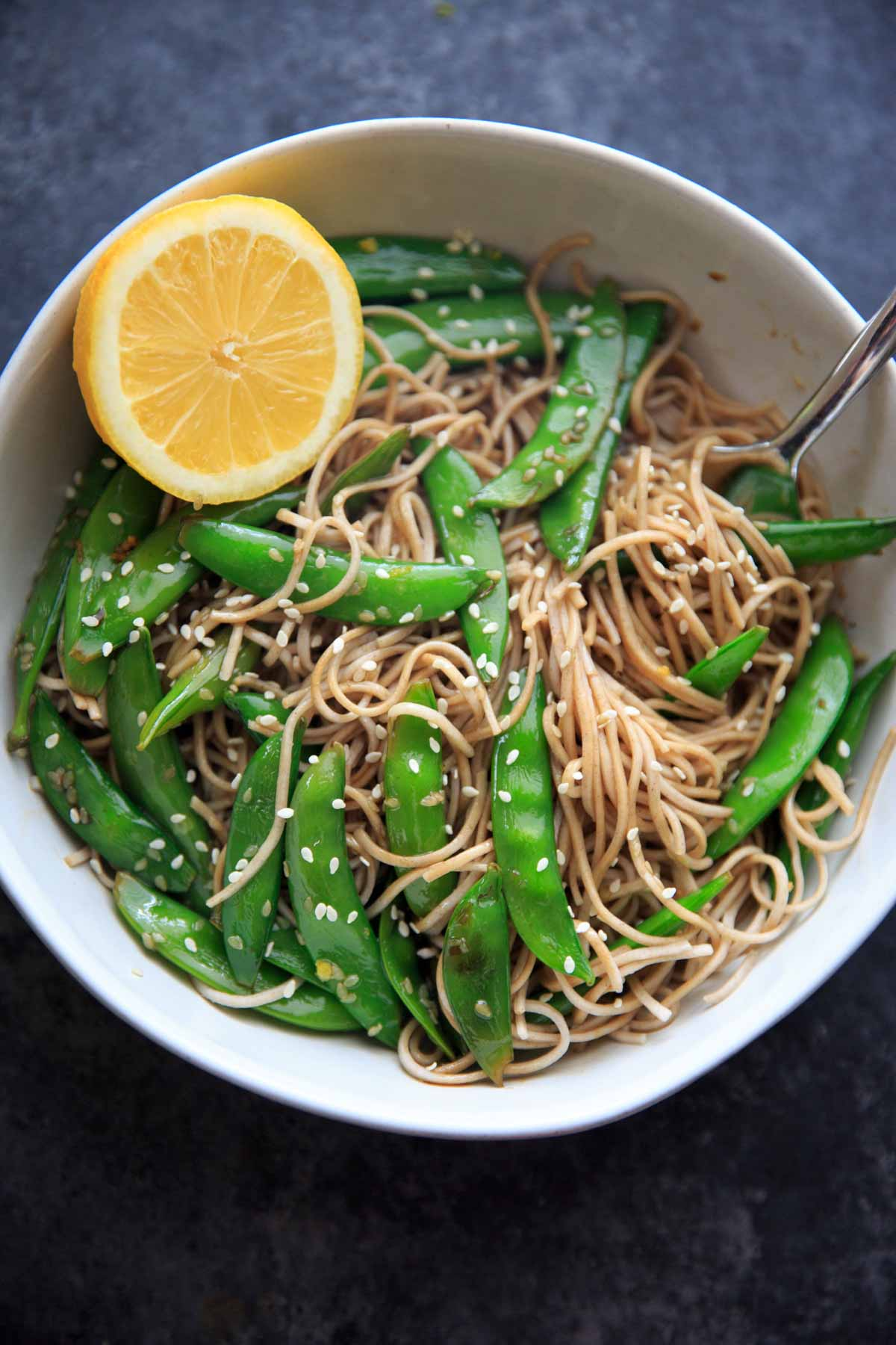 Lemon Sesame Sugar Snap Peas on Soba Noodles