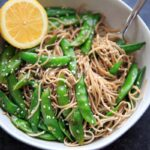 Lemon Sesame Sugar Snap Peas on Soba Noodles
