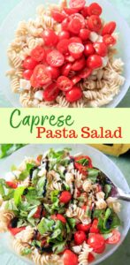 Caprese Pasta Salad - super simple dish that can be eaten as a whole meal or a side. Fresh tomatoes and basil make this an excellent summer pasta salad for picnics, potlucks and family dinners!