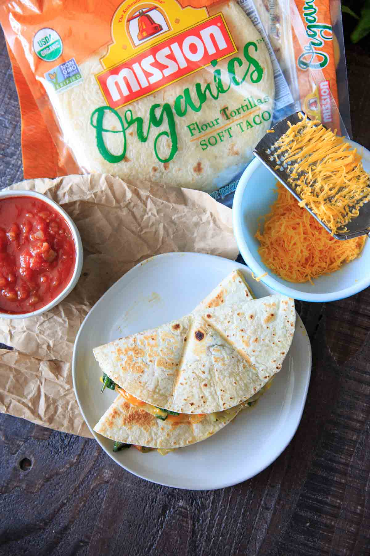Garden fresh vegetable quesadillas