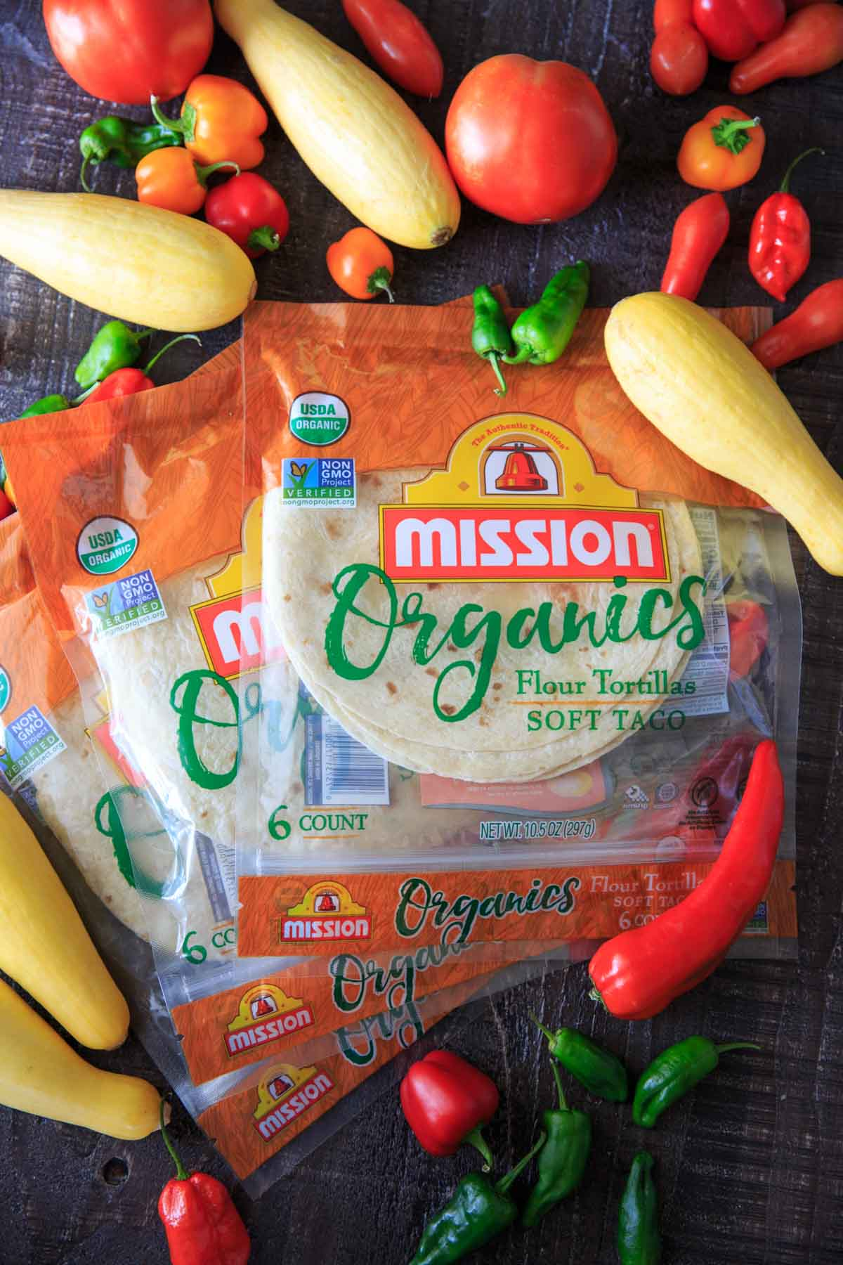 Mission Organics Tortillas with fresh produce