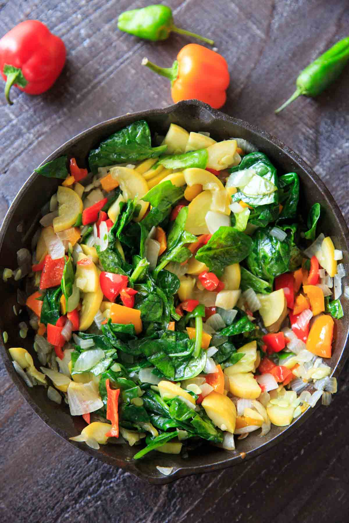 sauteed produce with spinach
