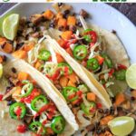 Sheet Pan Butternut Squash and Mushroom Tacos! Ready in under 30 minutes - vegan, easy, healthy, and great for meal prep.