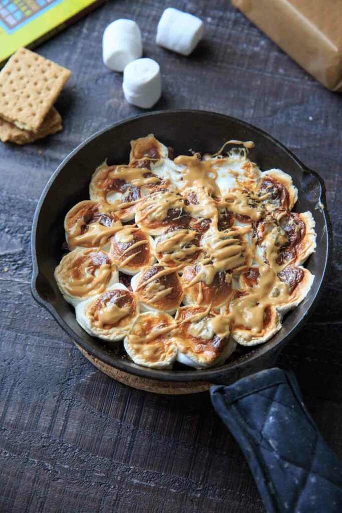 easy oven baked s'mores in a cast iron skillet