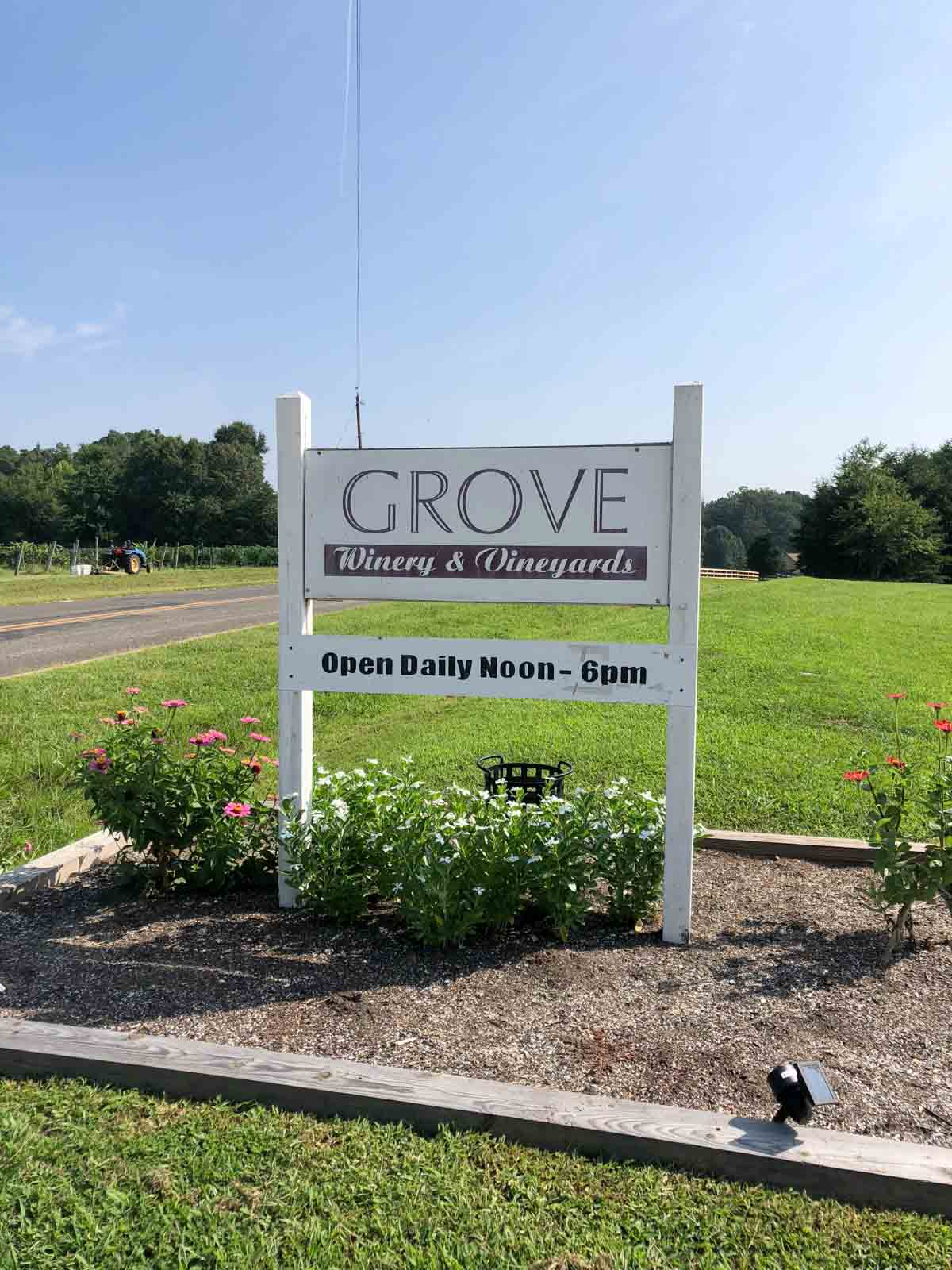 Grove Winery NC sign
