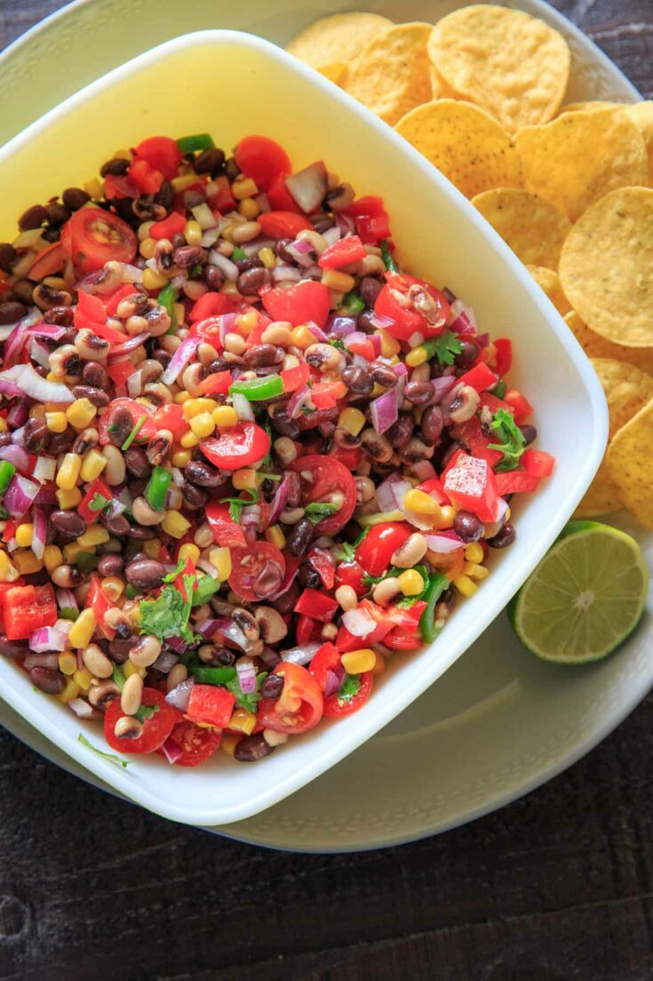 Cowboy (Texas) Caviar with tortilla chips and lime