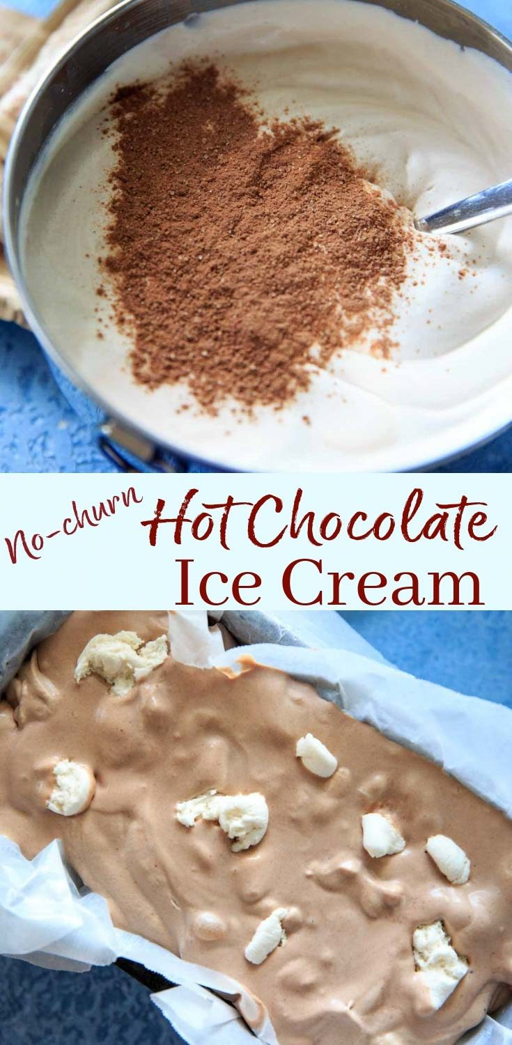 Hot Chocolate Ice Cream recipe with as few as 3 ingredients (plus marshmallows)! No ice cream machine needed for this no-churn recipe.