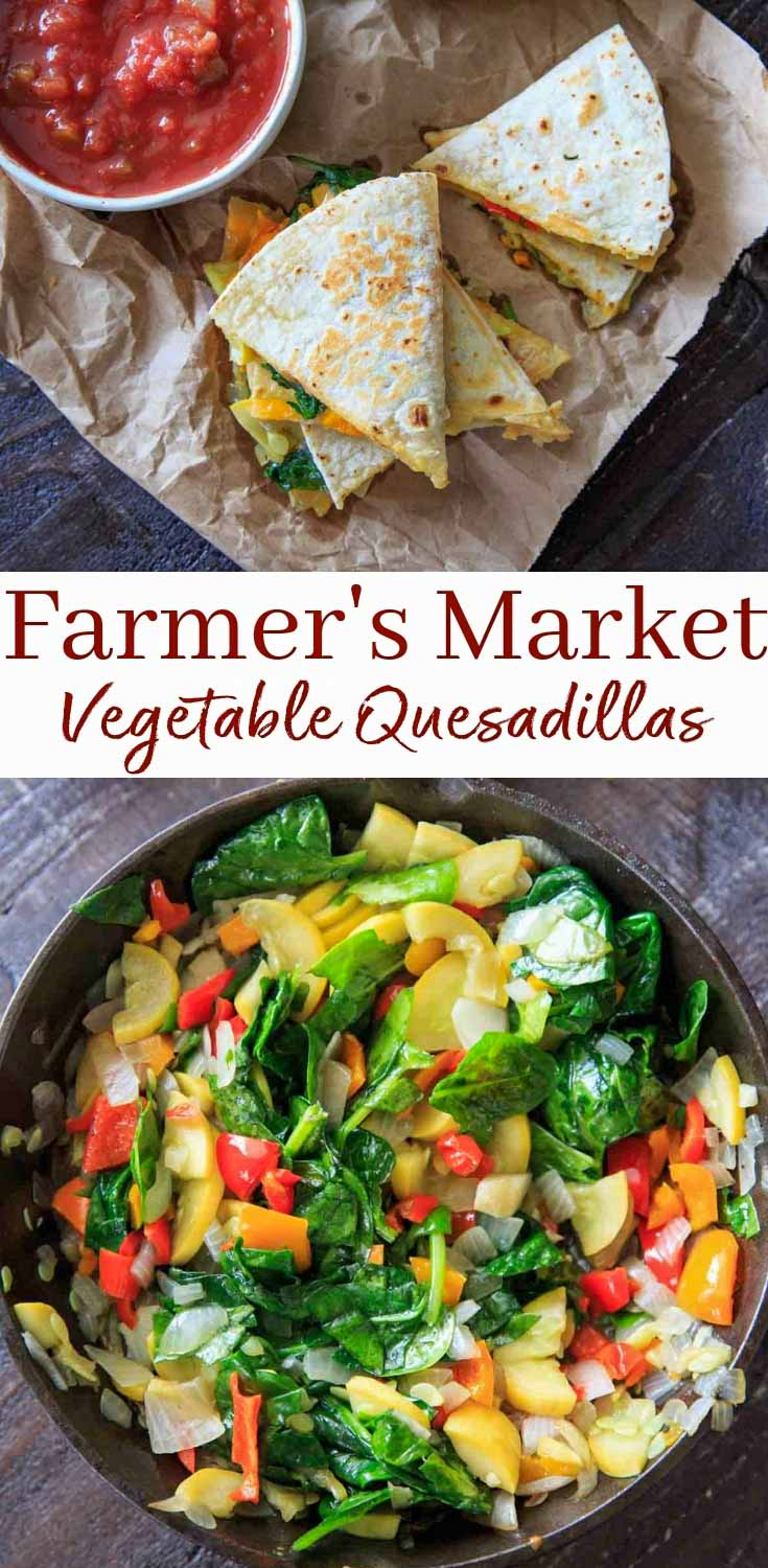 Farmers Market Garden Vegetable Quesadillas. With squash, peppers, spinach, freshly grated cheese and Mission Organics® Flour Tortillas, these are easy to make and customizable with your choice of fresh produce!