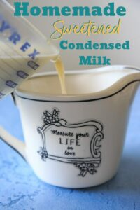 Need a can of sweetened condensed milk but don't have one in your pantry? Make your own! Only two main ingredients to make your own homemade sweetened condensed milk for baking or ice cream recipes.