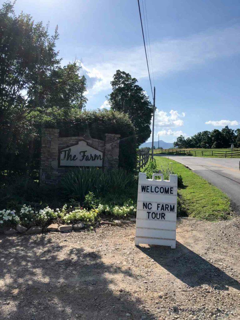 The Farm + NC Farm Tour sign