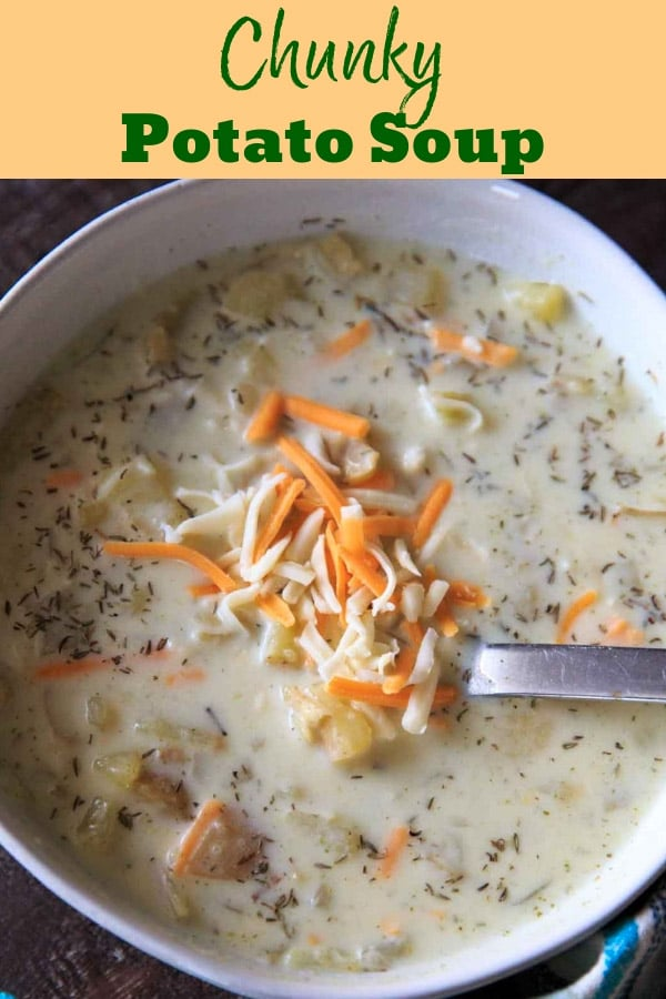 Chunky potato soup with loads of herbs makes for a lovely comforting cold-weather one-pot meal in the fall. Make it creamy if you want! Gluten-free with dairy-free option. #trialandeater #vegetarian #soup #potatoes