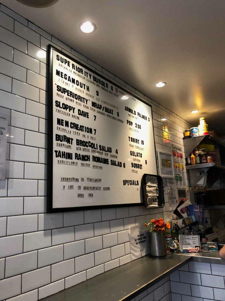 New York City Superiority Burger menu