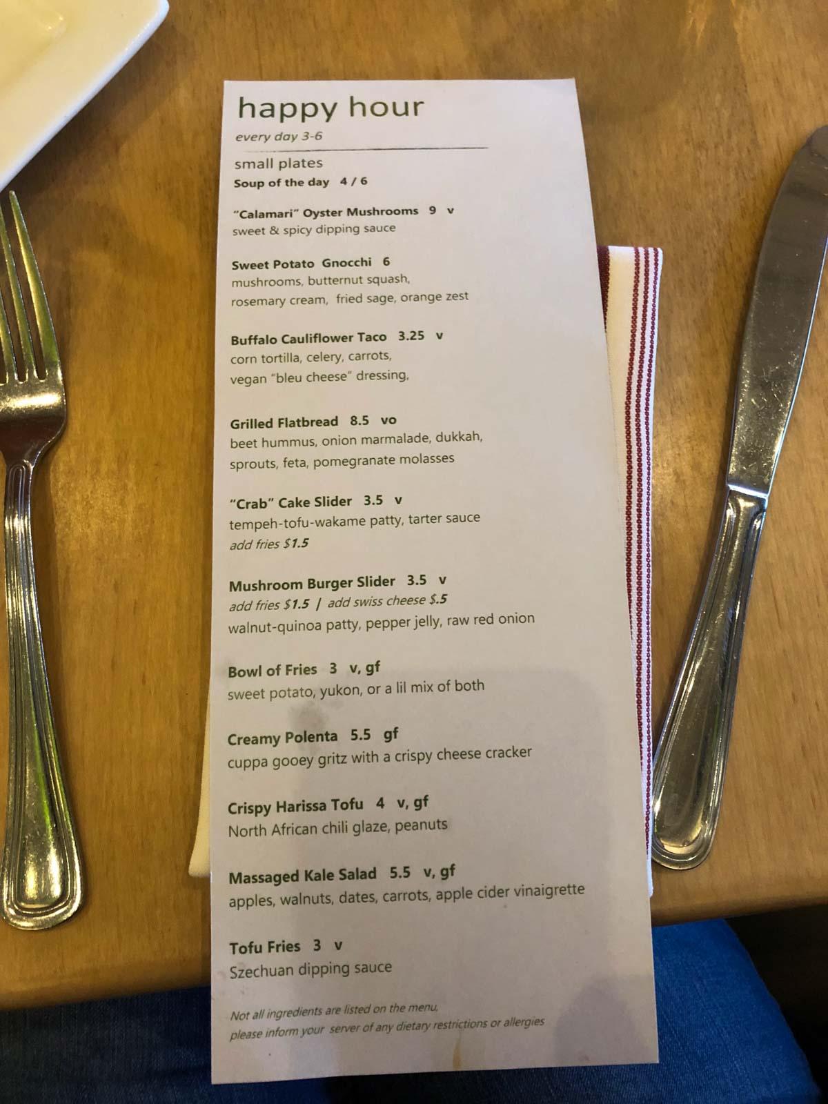 Leaf vegetarian restaurant Boulder Colorado happy hour menu