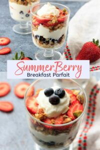 Red, white and blue berry parfait! Layered with yogurt and granola, you'll love this easy recipe for a filling snack or healthy breakfast treat.
