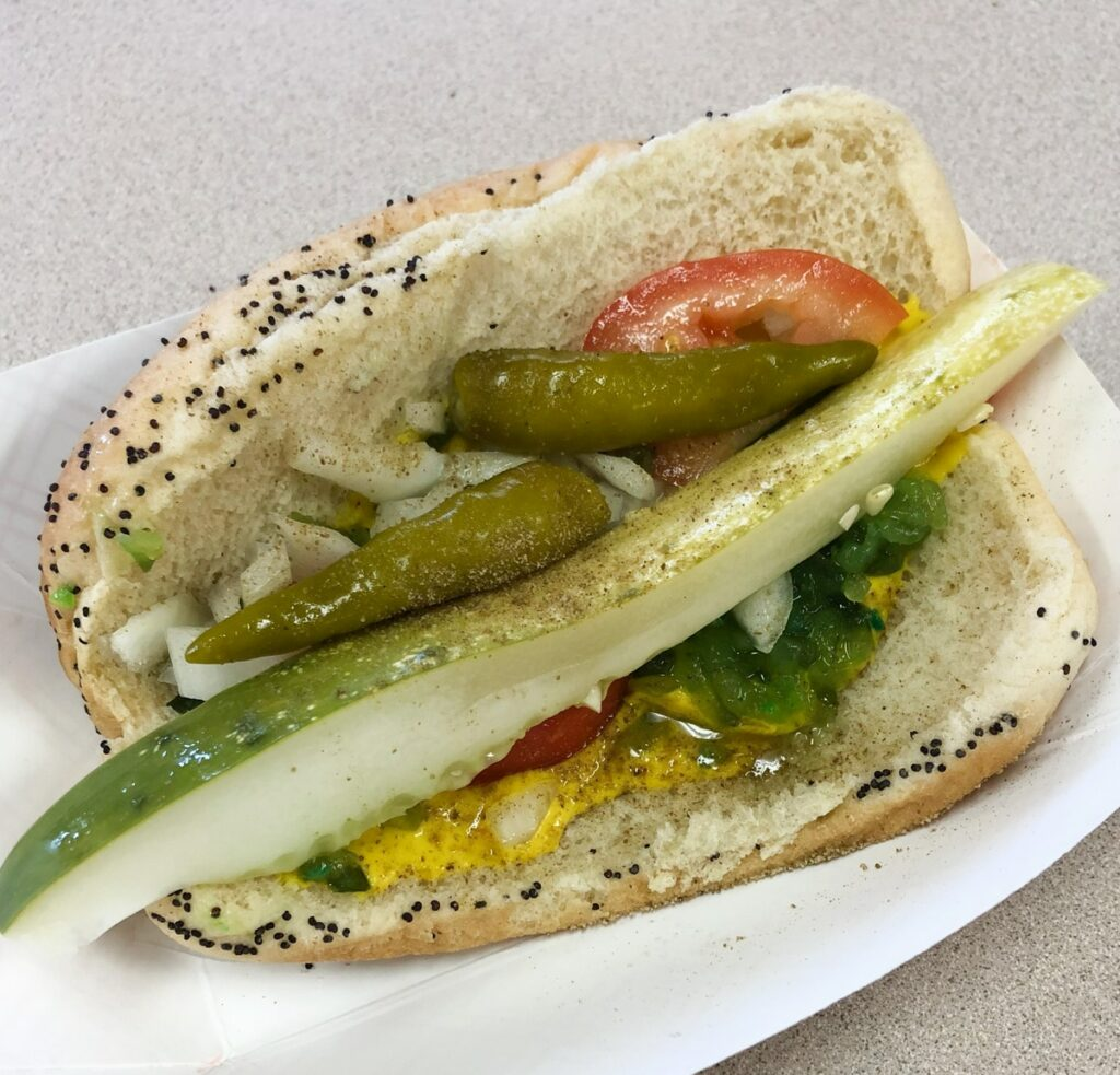 Chicago style hot-dog without the dog (vegetarian version)