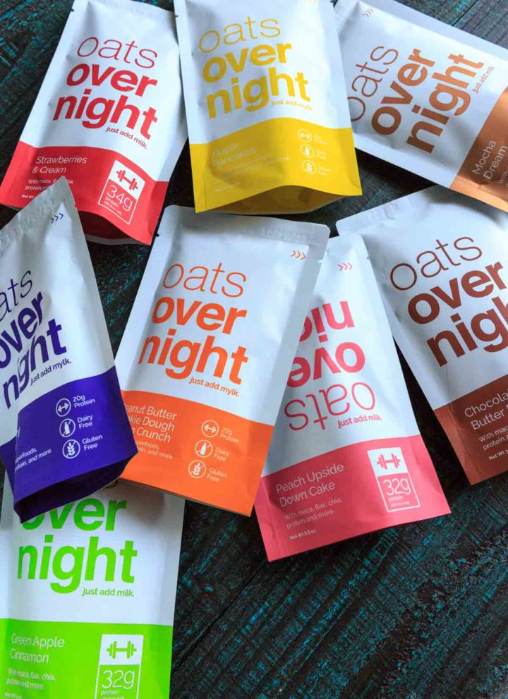 A picture of 8 flavors of oats overnight packets