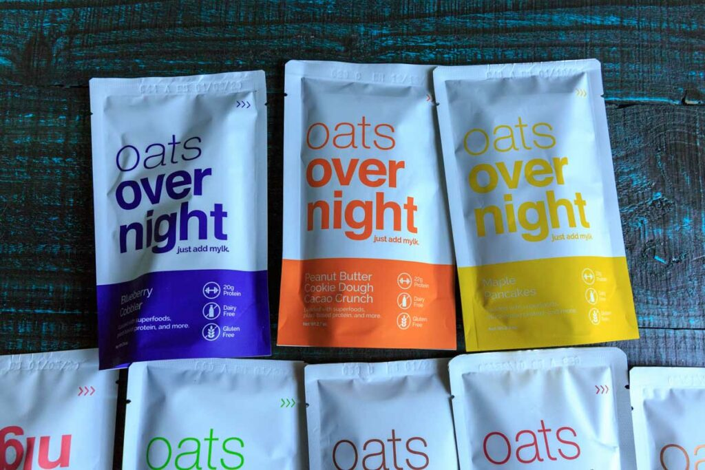 A picture of 3 flavors of oats overnight packets, plant based options