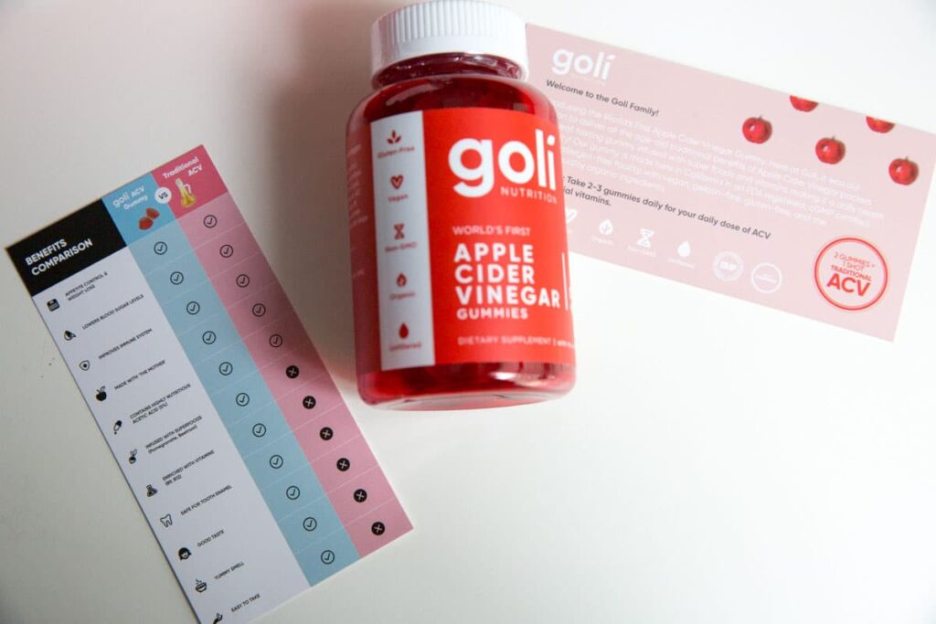 Goli nutrition apple cider vinegar gummies with benefits list