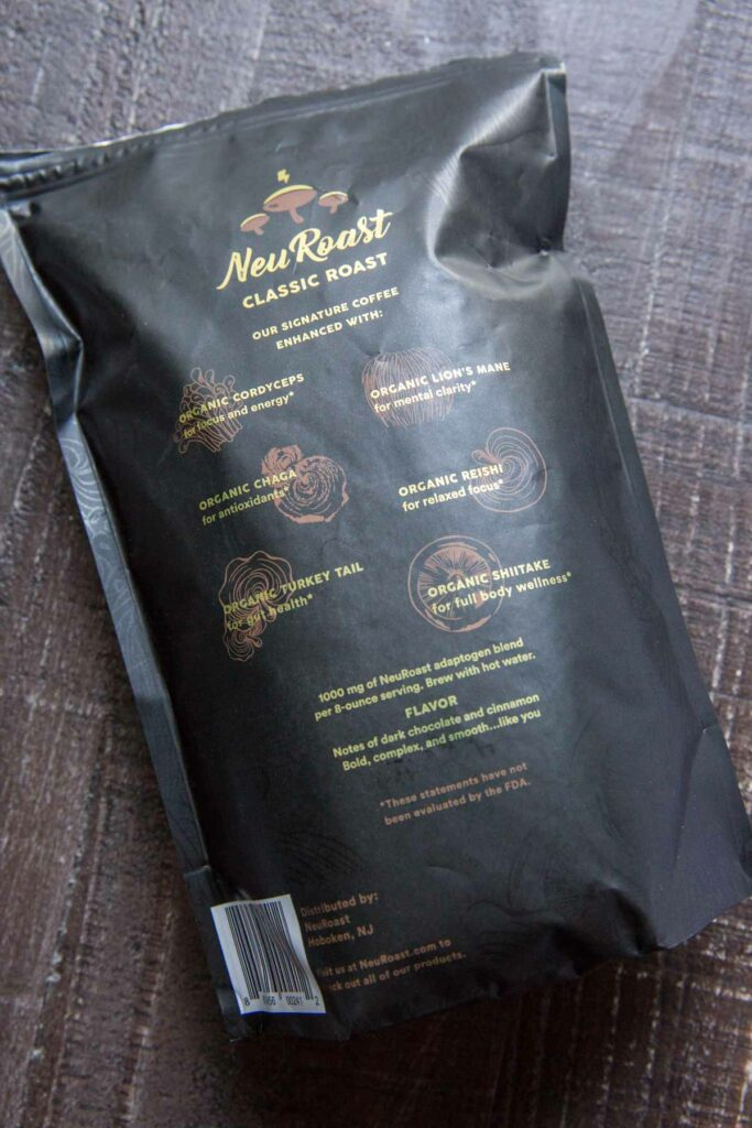 Neuroast Classic Coffee back of the bag