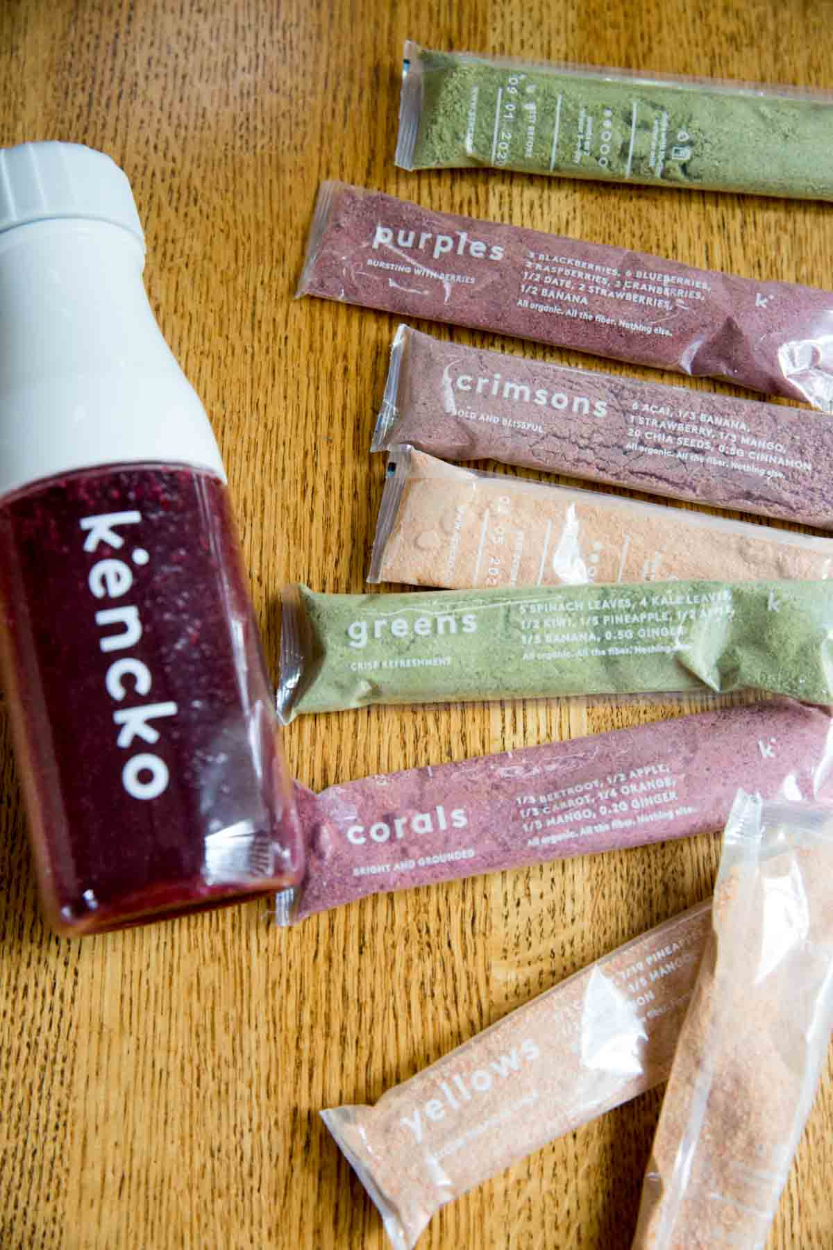 Kencko packets with shaker bottle