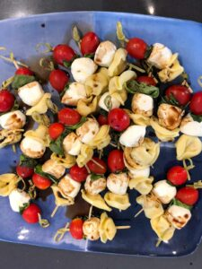 caprese pasta salad skewers with balsamic drizzle