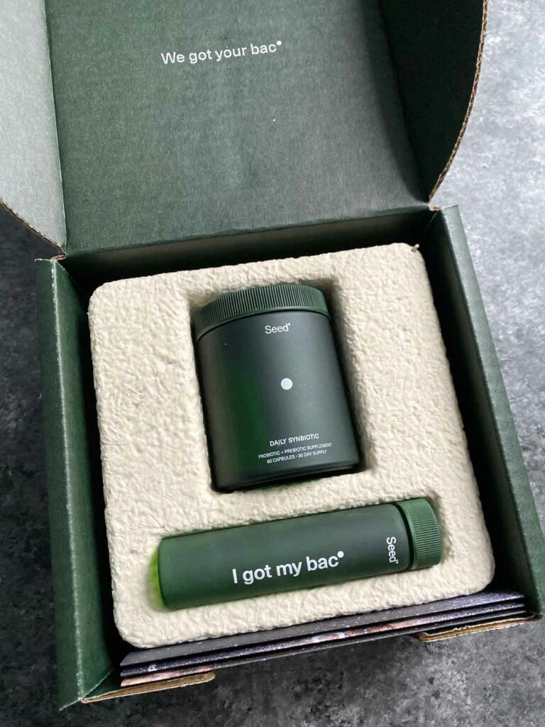 seed probiotics glass jar, vial in sustainable packaging