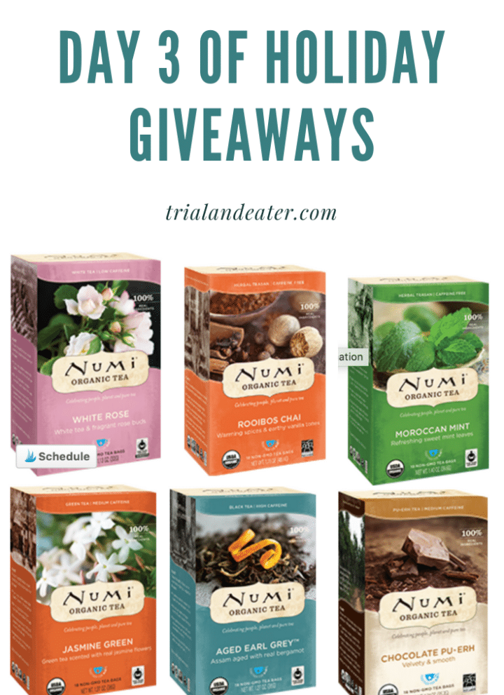 Day 3 of holiday giveaways trial and eater numi tea
