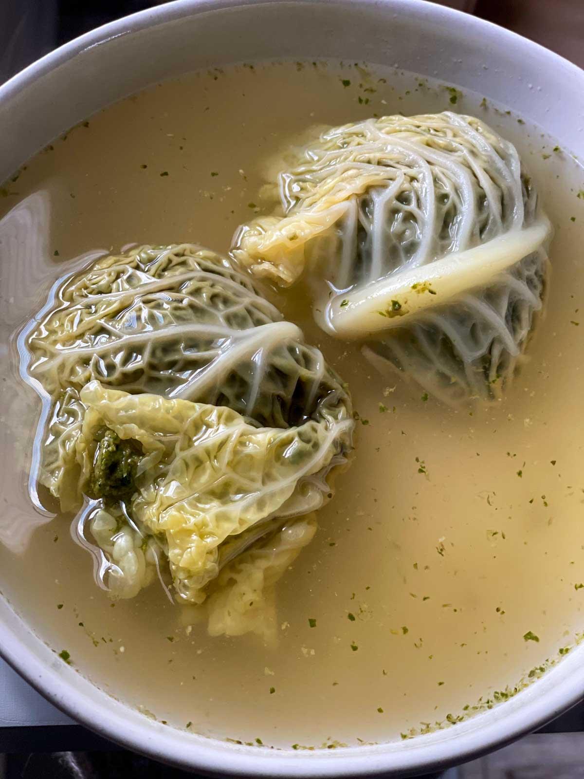 sakara level ii day 1 lunch, cabbage dumplings in galangal broth