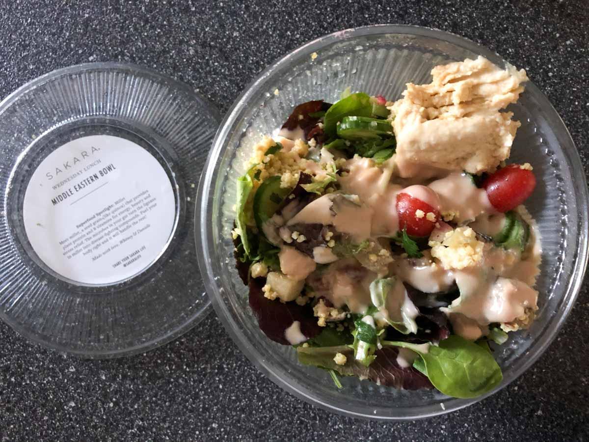Sakara lunch middle eastern bowl