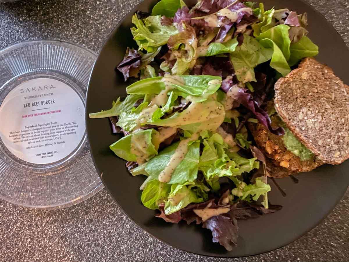Sakara vegan Red Beet Burger and salad