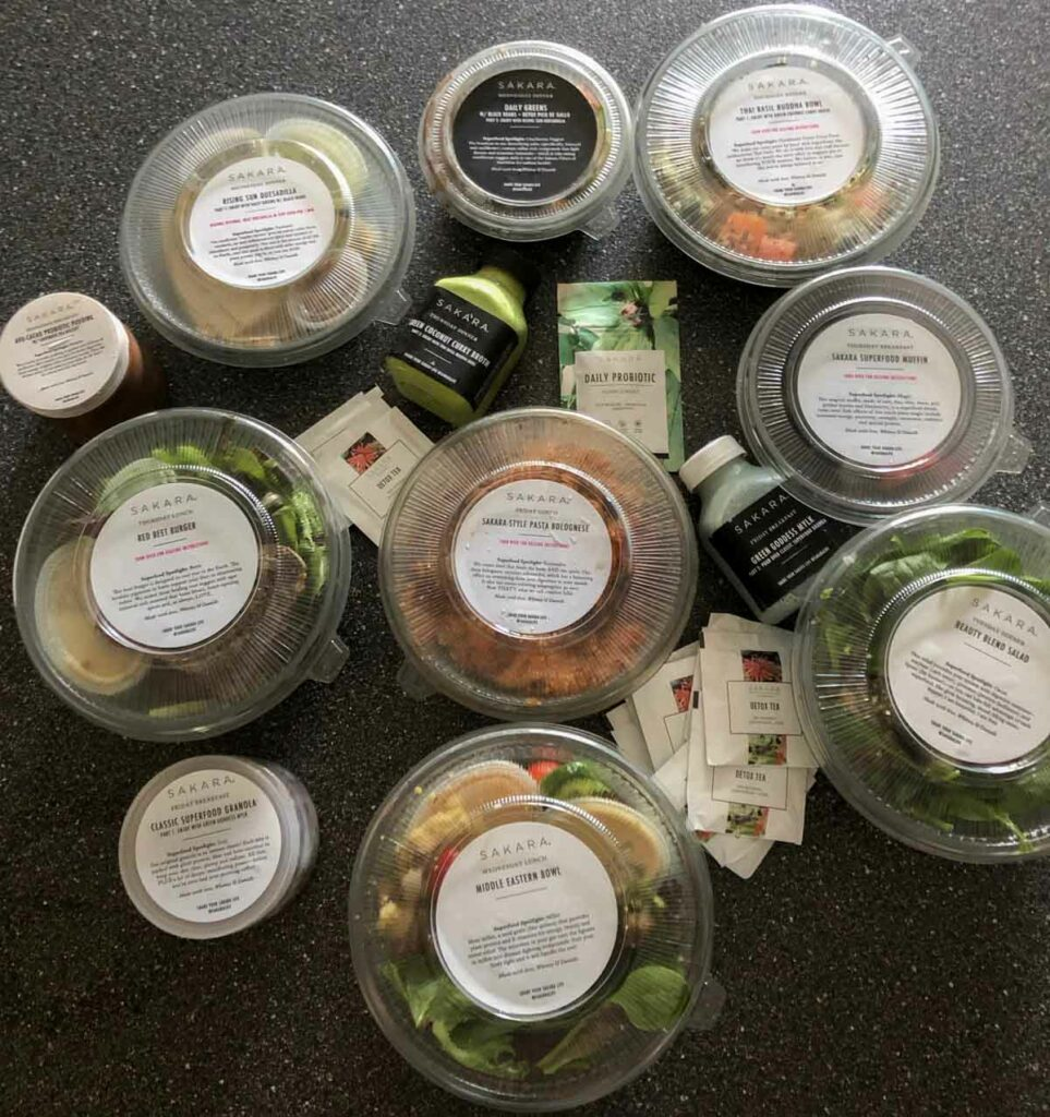 Sakara Life 3 day plan all meals on counter