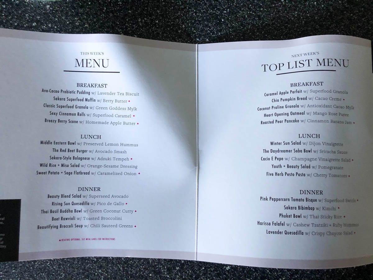 Sakara meal delivery 3 day printed menu