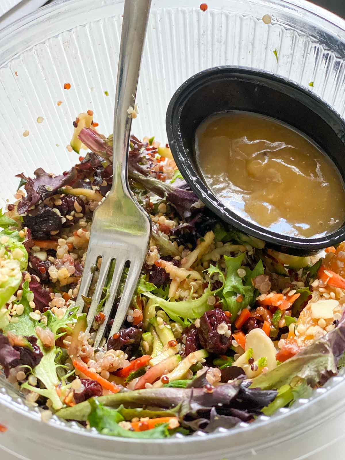 Sakara summer sun salad with fork in bowl and dressing on the side