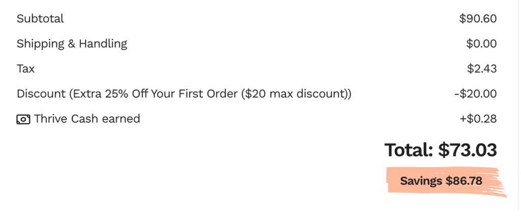 Thrive order receipt example
