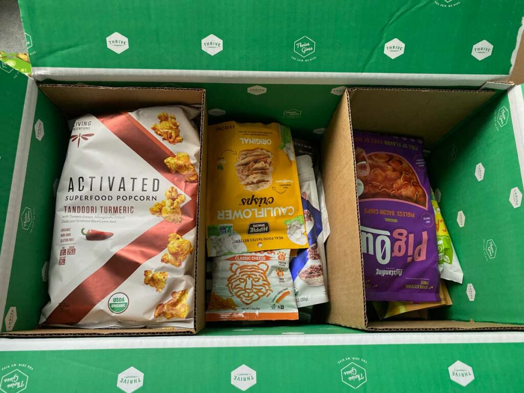 Thrive Market box with snacks