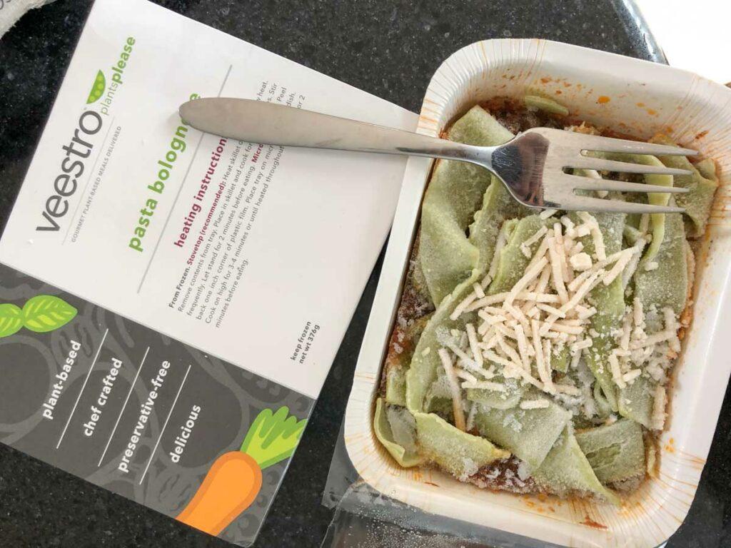 Veestro pasta bolognese frozen meal vegan