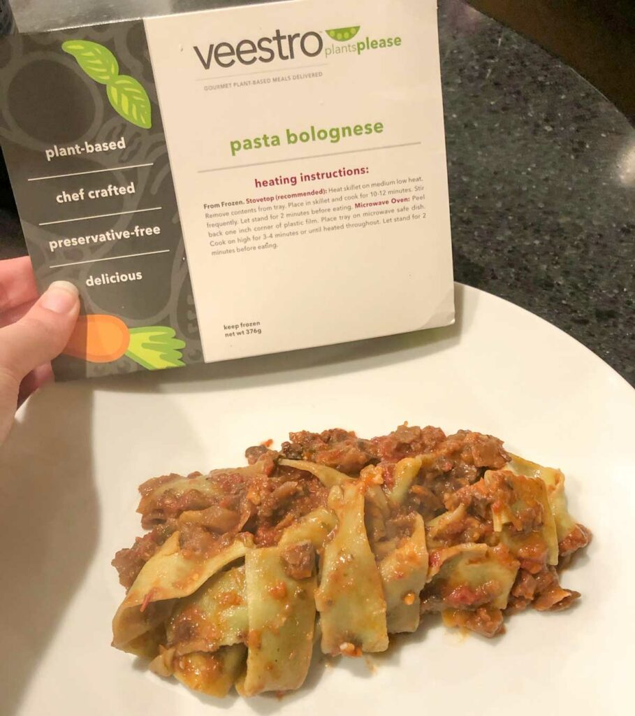 Veestro pasta bolognese cooked on plate vegan