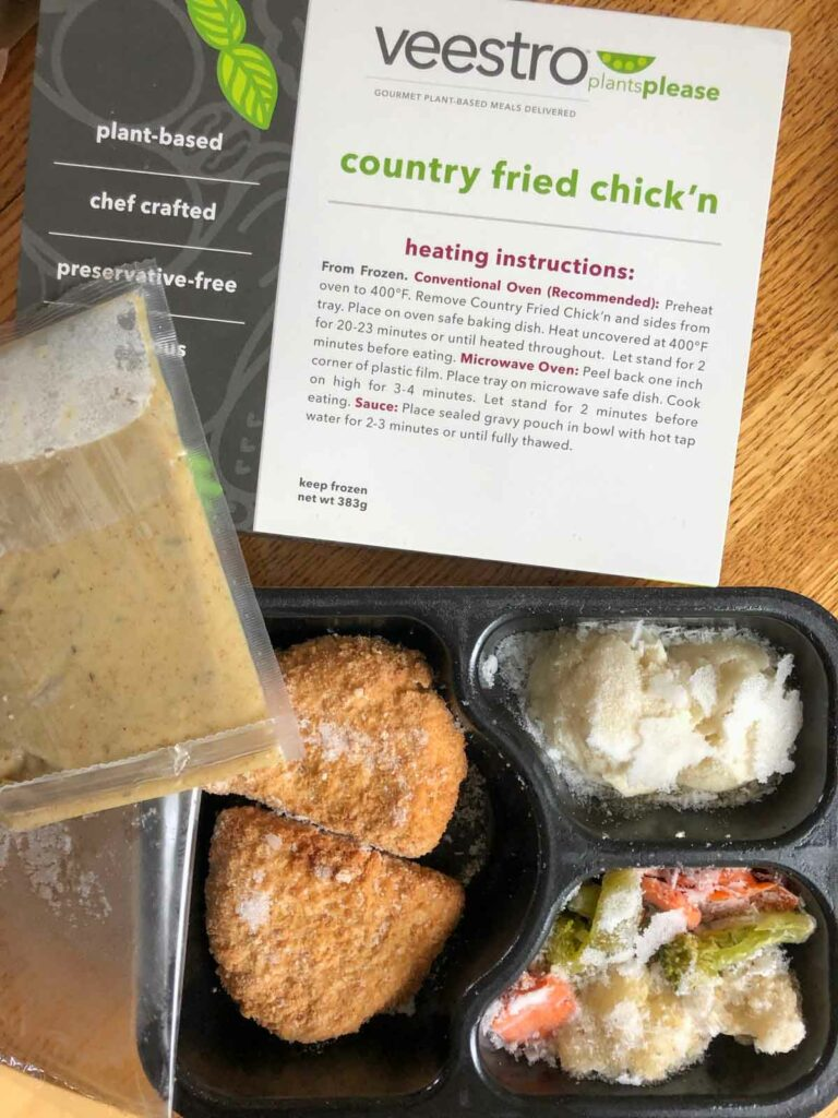 Veestro vegan country fried chick'n meal frozen