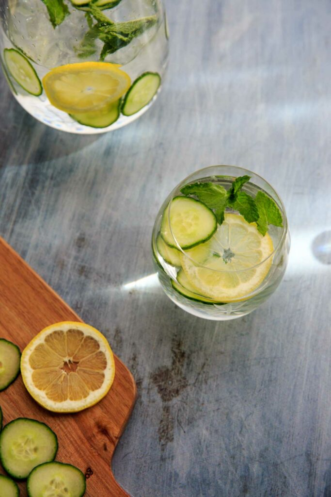cucumber, lemon mint water in glass