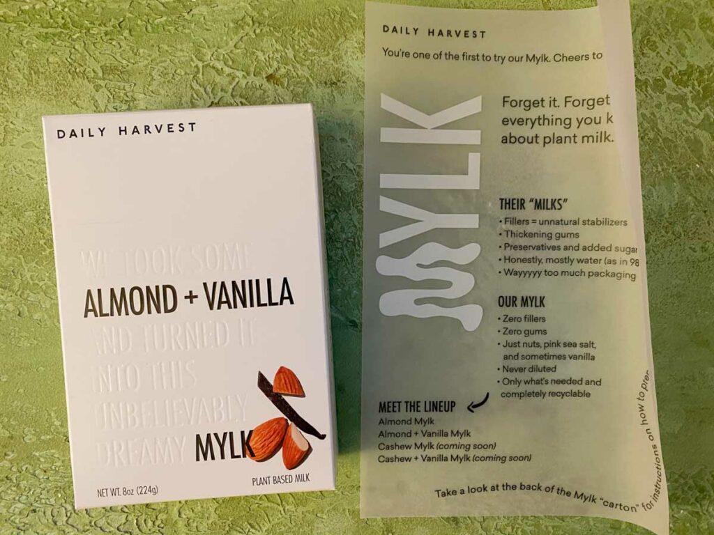 Daily Harvest almond vanilla mylk info sheet