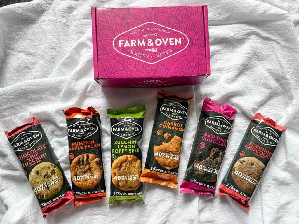 6 flavors from farm & oven displayed with box