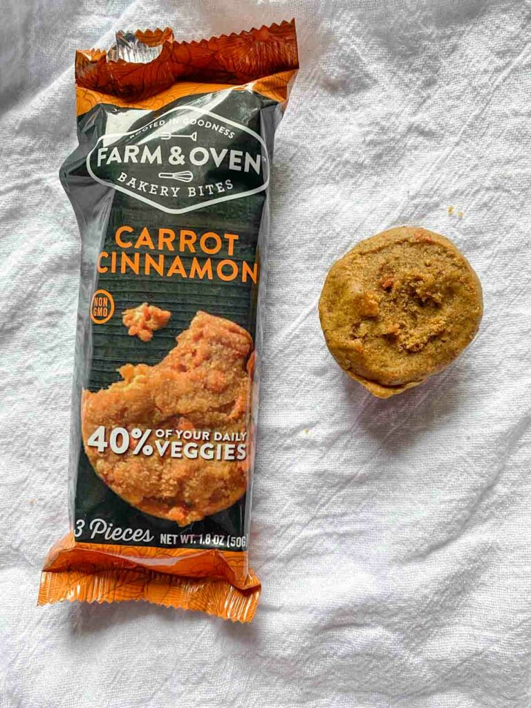 carrot cinnamon flavor from Farm & oven with one muffin out of package