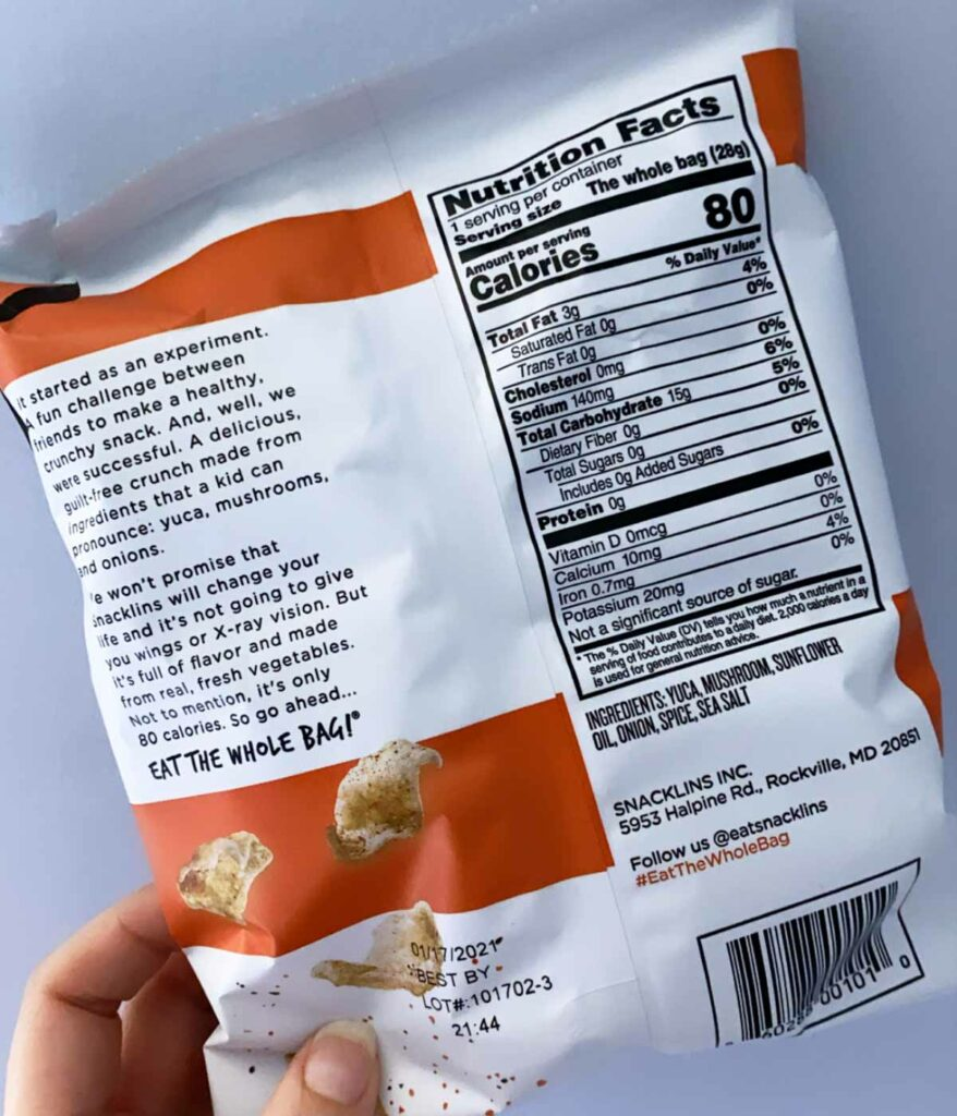 Back of chesapeake bay flavor of snacklins nutritional facts