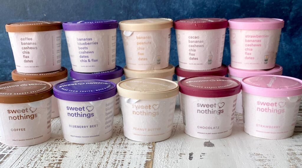 All five flavors of Sweet Nothings spoonable flavors with their labels and ingredients