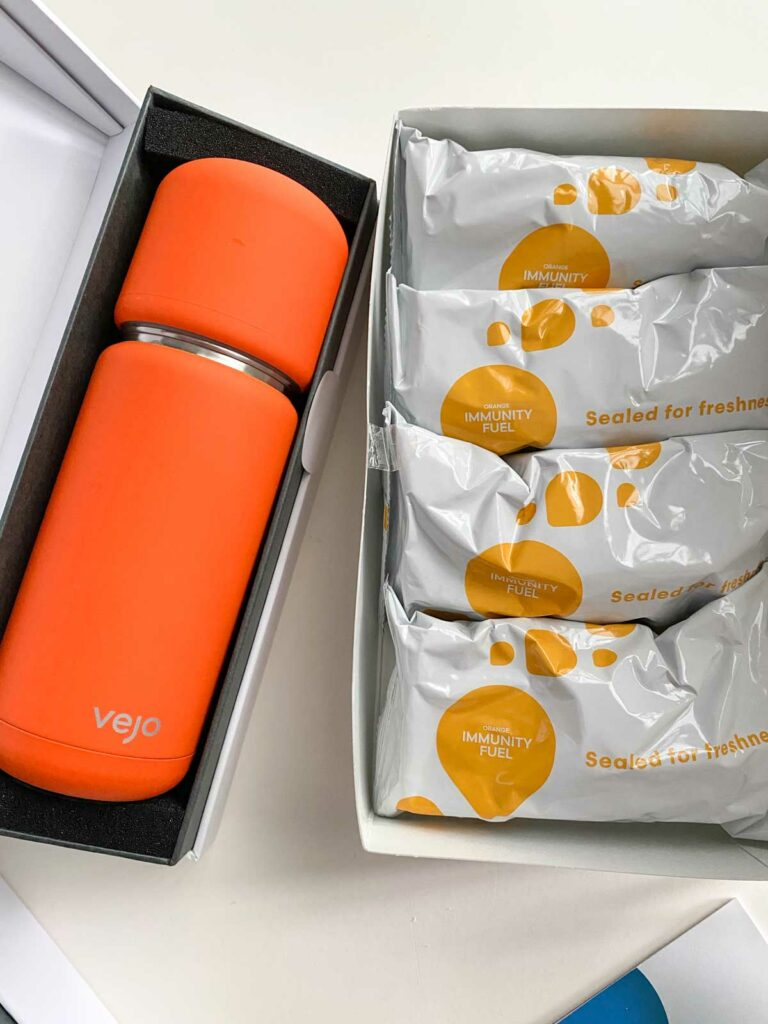 vejo orange portable blender with immunity fuel pod packets
