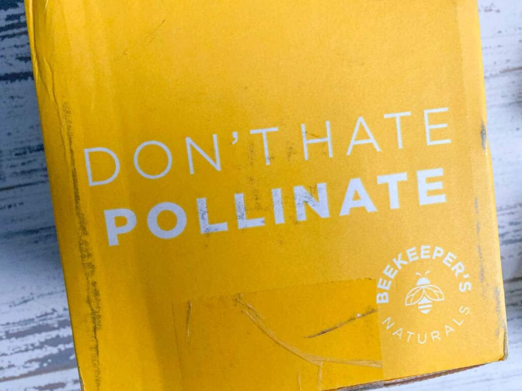 "beekeepers naturals delivery box ""don't hate, pollinate"""
